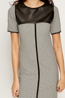 Faux Leather Insert Shift Dress