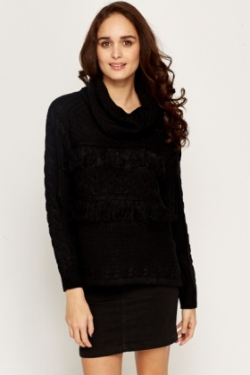 Fringed Roll Neck Jumper
