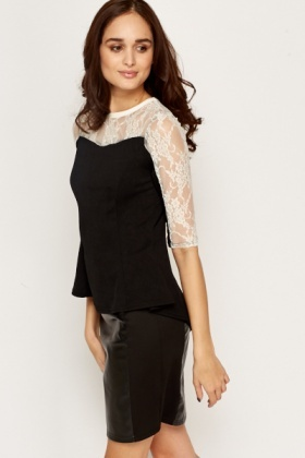 Lace Insert Contrast Top