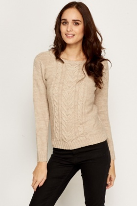 Ribbed Plait Detail Knit Jumper