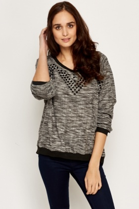 Studded Contrast Batwing Top