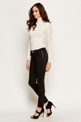 Studded Trim Slim Trousers