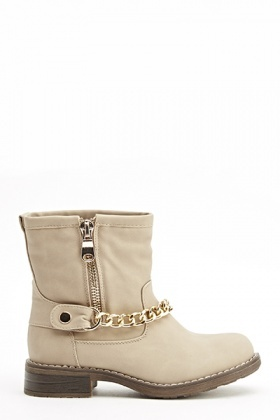Beige Chain Trim Boots