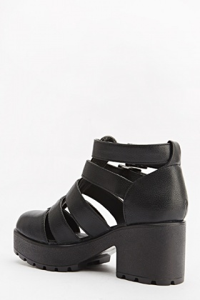 Black Ankle Strappy Heeled Sandals