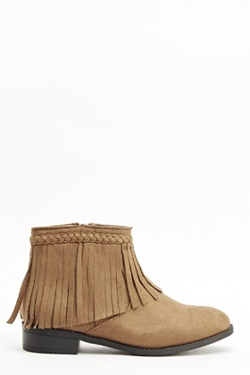 Camel Fringed Ankle Boots