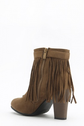Camel Fringed Ankle Heeled Boots