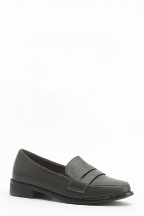 Faux Leather Pointed Loafers