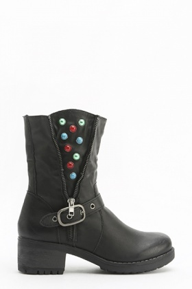Gem Studded Zip Detail Boots