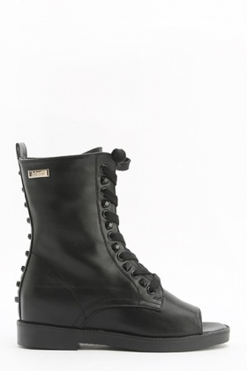 Open Toe Lace Up Studded Boots