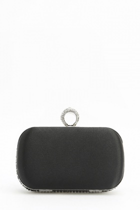 Ring Top Encrusted Box Clutch