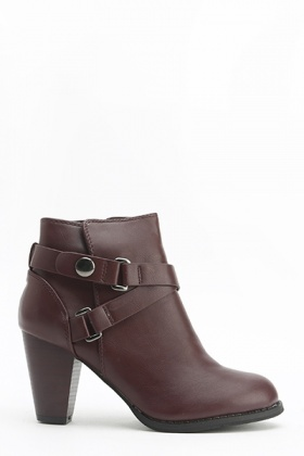 Wine Heeled Ankle Boots