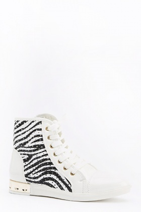 Zebra Print High Top Trainers