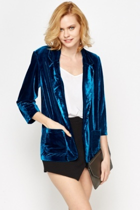 Blue Velveteen Open Jacket