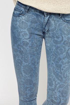 Faded Paisley Print Jeans