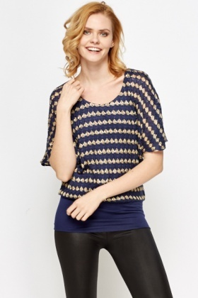 Gold Contrast Knit Top