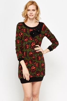 Knit Floral Ribbed Trim Dress