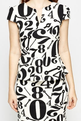 Mono Number Printed Peplum Dress