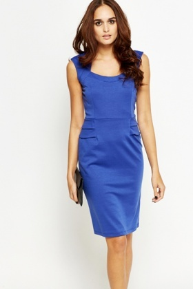 Royal Blue Cap Sleeve Pleated Dress