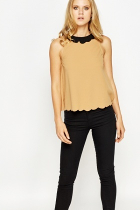 Scallop Trim Collared Shell Top