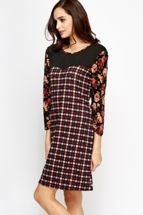 Check Floral Contrast Dress