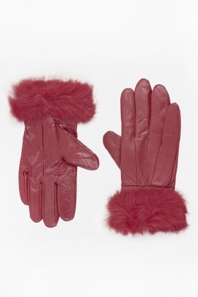 Faux Leather Faux Fur Trim Gloves