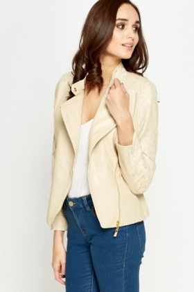 Lace Insert Faux Leather Jacket