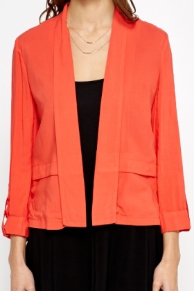 Open Front Coral Blazer