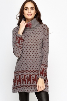 Reindeer Knit Jumper Dress
