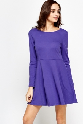 Roll Up Sleeve Skater Dress