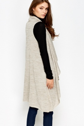 Sleeveless Sand Waterfall Cardigan