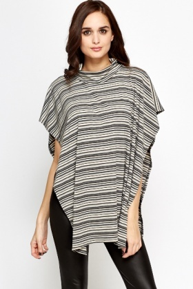 Stripped Poncho Top