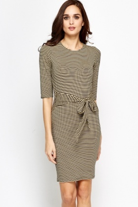 Tie Front Striped Dress