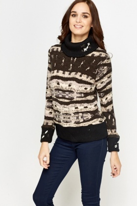 Contrast Geo Roll Neck Jumper