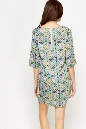 Geo Shift Zip Hem Dress
