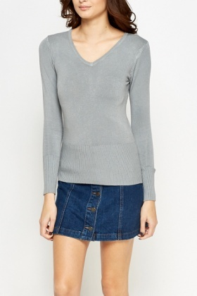 Grey Cotton Knit Top