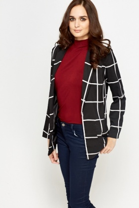 Grid Check Open Blazer