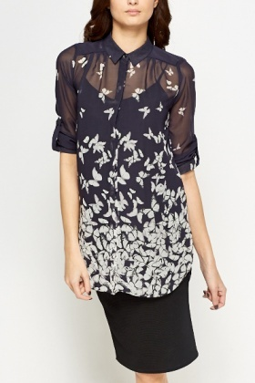 Long Butterfly Sheer Blouse