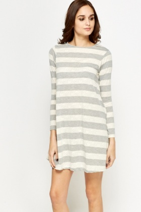 Mono Striped Swing Dress