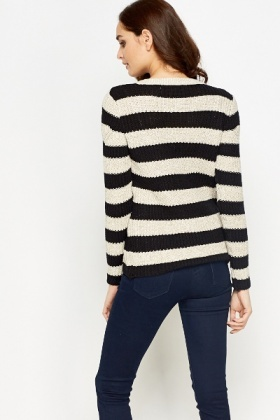 Striped A-Line Knit Jumper