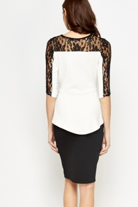 White Lace Sleeve Contrast Top