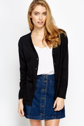 Black Casual Cardigan