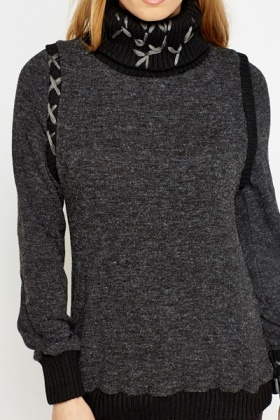 Contrast Stitch Roll Neck Jumper