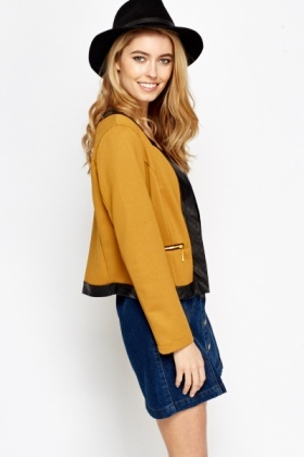 Contrast Trim Zip Up Jacket