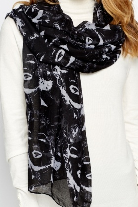 Face Print Sheer Scarf