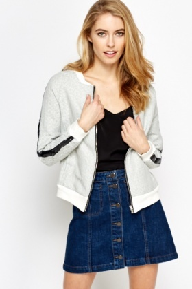 Faux Leather Insert Bomber Jacket