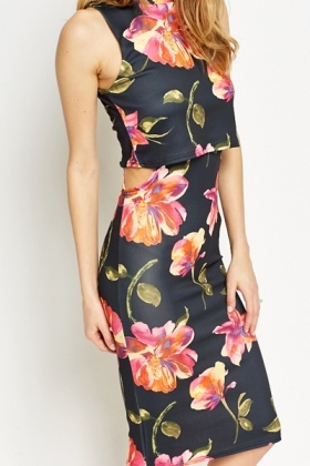 Floral Overlay Bodycon Dress