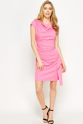 Jacquard Pink Asymmetric Dress