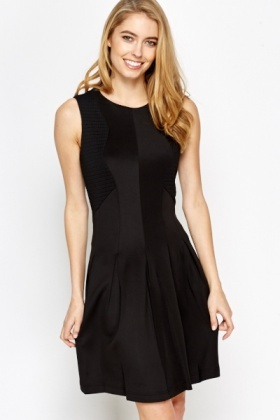 Perforated Insert Skater Dress