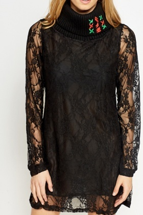 Petite Roll Neck Lace Dress