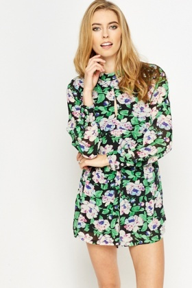 Pleated Floral Playsuit